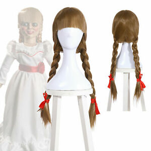 Halloween The Conjuring Annabelle Bangs Braid Ponytails Ash Blonde Cosplay Wig