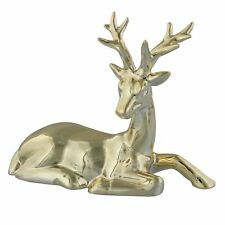 Gold Effect Polished Laying Down Reindeer Christmas Figurine Ornament XM2526