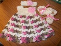 Handmade Crochet baby set, Preemie, Newborn & 3 months, by Rocky Mountain Marty