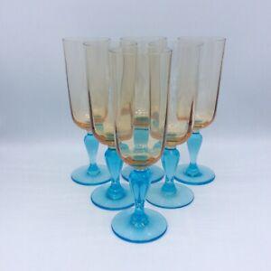 Service de six flûtes à champagne verre soufflé bleu ambre Portieux George Sand
