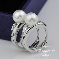 9K 9CT White GOLD GF PEARL Wedding HUGGIE EARRINGS Swarovski CRYSTAL EX415