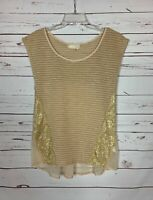 A'Reve Anthropologie Women's Sz M Medium Beige Lace Short Sleeve Spring Cute Top