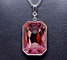 Swarovski Emerald-Cut Rectangle Crystal Pendant in Rose Pink Silver Chain