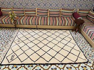 Moroccan Beni Ourain Medium Rug 18 Handwoven 100% Wool 8ft x 6ft4''