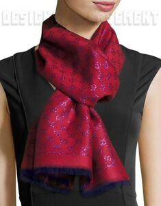 "GUCCI red & purple Shimmer STENLUX wool Jacquard GG long 19x72"" Scarf NIB Authen"