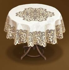 "Tablecloth round cream/dark gold lace NEW Ø 120cm (47"") perfect gift polyester"