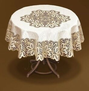 """Tablecloth round cream/dark gold lace NEW Ø 120cm (47"""") perfect gift polyester"""