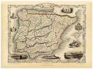 Old Vintage Map of Spain Portugal richly illustrated Tallis 1851