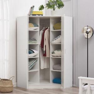 2 Door Corner Wardrobe In Matt White Bedroom Furniture 10 Shelf Storage Cupboard