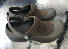 CROCS TROIKA SUEDE WOMENS SIZE 5 Brown  SLIP ON CLOG SHOES EUC!