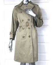 100% Auth. Womens size 12-10P BURBERRY Beige Double Breasted Trench Coat petite
