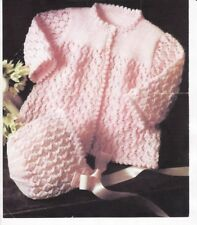 Baby Knitting Pattern 4 & 6  Ply Copy Jacket and Bonnet