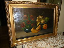 Antique Still Life Fruit And Floral Oil Painting On Canvas~  Gesso Frame