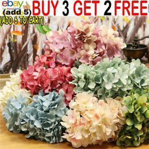6Heads Artificial Silk Hydrangea Flowers Bouquet Fake Bloom Wedding Home Decorsx