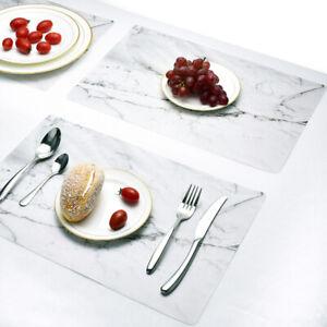 2Pcs Marble Table Mats Waterproof Vinyl Placemats Kitchen Dining Waterproof Mats