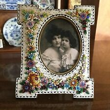 Antique Micro Mosiac Picture Frame Victorian Raised Glass Flowers