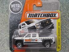 Matchbox 2016 #059/125 2014 Chevy SILVERADO 1500 blanc MBX CONSTRUCTION étui F