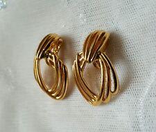 Vintage Monet Gold Tone Clip On Dangle Earrings Signed
