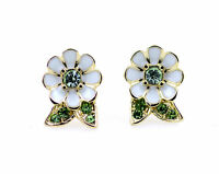 Super pretty white enamel daisy stud earrings with crystal, 50s, 60s 70s retro