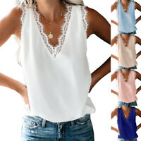 Women's V Neck Lace Trim Tank Tops Casual Summer Loose Sleeveless Blouse Shirts