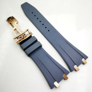 26mm Gray Rubber Rose Gold Clasp Strap Connector for AP Royal Oak 15400 15300