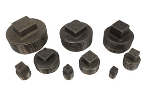 """Black Malleable Iron Hollow Plug Pipe Fittings 6mm - 50mm (1/8"""" - 2"""")"""