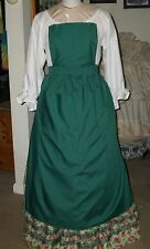 Civil War Dress Victorian Colonial Lady'S Hunter Green Cotton Pinner~Bib Apron