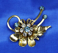 Beautiful Vintage 1940s Gold Wash Rhinestone Brooch Fur Clip Flower