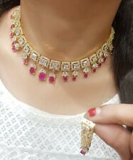 Indian Pakistan Bollywood American Diamond Necklace Earings Red  Party Wear