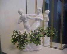 Art Deco Style Two Dancing Ladies Porcelain Flower Frog Figurine - Circa 1980's
