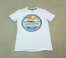 New listing Quiksilver Shirt Adult Small White Blue Surf Surfer Surfing Logo Cotton Mens *