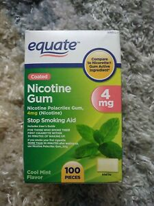 Equate Coated Nicotine Gum, Cool Mint, 4 mg, 100 Count exp. 2023