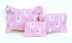 Set of 3 Pink and White Llama Print Makeup Accessory Bags Coin Purse
