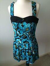 NWT Bettie Page Black & Blue Floral Romper Size M