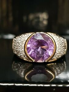 vintage Amethyst Diamond 9ct 9k gold Ring Size M