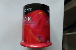 New Sealed Sony CD-R 100 Pack 80 Min 700 MB 48x CD Recordable CDR Spindle