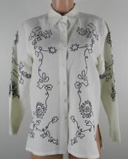 Dialogue Women's 3/4 Sleeve Button Front Top-Ivory/Black/Floral-Small