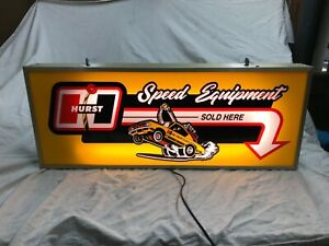 Large Lighted Hurst Four speed floor shift Hurst Hemi Under glass lighted sign