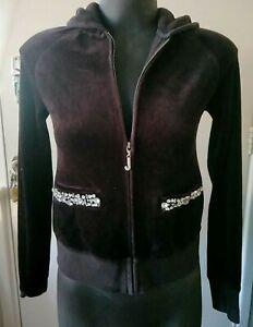 JUICY COUTURE Embellishment Encrusted Pocket Raglan Long Sleeve Hoodie Jacket