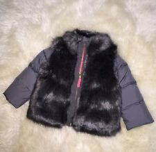NWT $168 J CREW CREWCUTS GIRLS' FURRY PUFFER Size 2 Toddler STYLE 02903 Gray