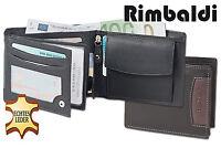 Rimbaldi® Geldbörse aus feinem Nappa Leder mit 3D-Logo in Schwarz / Braun
