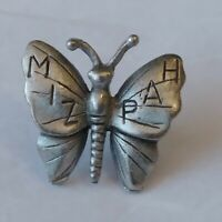 MIZPAH Butterfly Tie Tack Lapel Hat Jacket Pin Pewter Watchtower