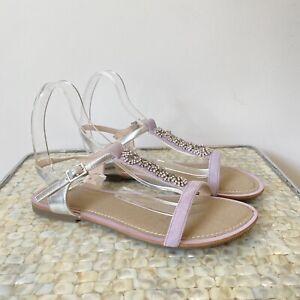 Clarks Size 5.5 lilac purple sparkly diamanté T bar Sumer sandals occasion VGC