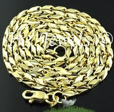 18k  yellow gold diamond cut slanted link chain necklace 20 inch 7.80 grams #174
