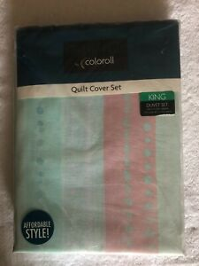 essentials king size duvet set green /pink dotted stripes new in packet