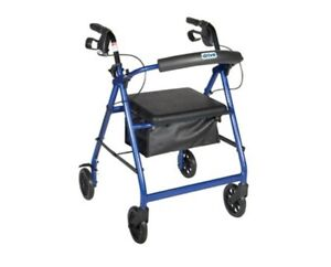 """Drive Medical R726BL Aluminum Rollator, 6"""" Casters, Padded Seat, Backrest, Pouch"""