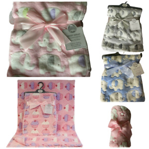 Soft Baby Fleece Blankets Cup cakes, Elephant Baby Wraps Blankets