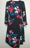 Phase Eight (UK Size 12) Floral Black, Hot Pink & Blue Wrap Midi Dress - Wedding