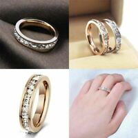 Men/Womens CZ Steel Titanium Band Wedding Stainless Silver/Gold  Ring Sz3-10