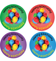 144 x HAPPY BIRTHDAY ROUND PARTY STICKERS FOR SWEET CONES FOOD BOXES GOODY BAGS